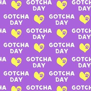 Gotcha day - paw & heart - purple and yellow - LAD19