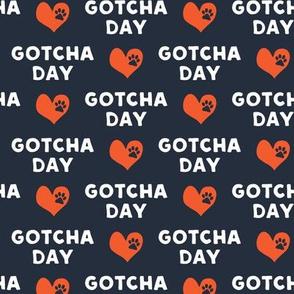Gotcha day  - paw & heart - dark blue & red - LAD19