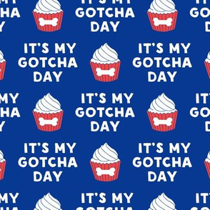 It's my gotcha day - dog bone cupcake - blue & red - LAD19