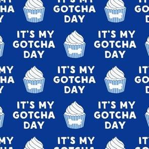 It's my gotcha day - dog bone cupcake - blue - LAD19