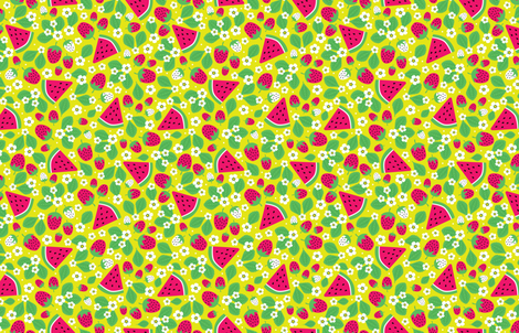 Summer Strawberries and Melons (Large) fabric by robyriker on Spoonflower - custom fabric
