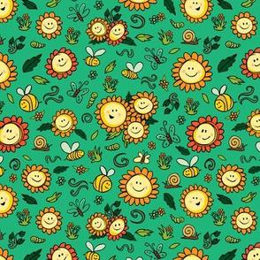 Green sunflowers bees caterpillars butterfly pattern