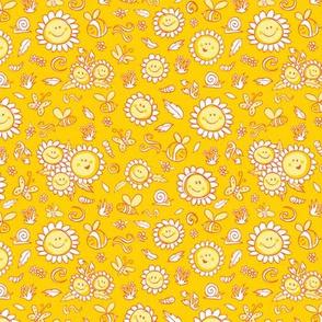 Yellow happy sunflowers texture pattern