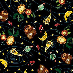 Black owl sunflowers comet moon pattern