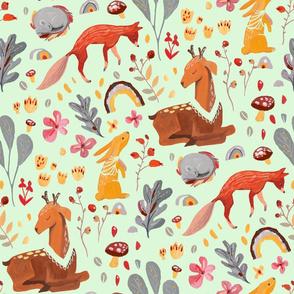 Forest animals - mint green
