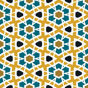 The Gold the Black and the Teal - Hexagon Stars