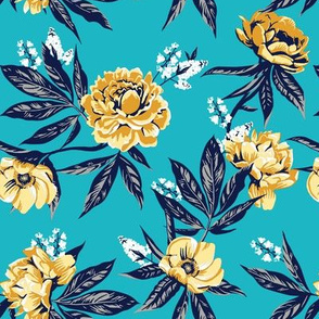 Garden Floral - Turquoise