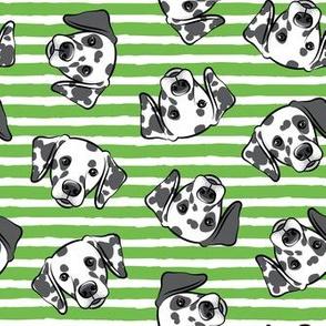 Dalmatians - green stripes - LAD19