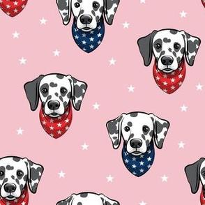 Dalmatians with bandanas - stars on pink - LAD19