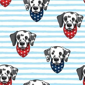 Dalmatians with bandanas - red and blue stars on blue stripes - LAD19