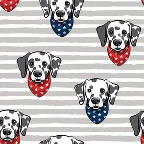 Dalmatians with bandanas - red and blue stars on grey stripes - LAD19