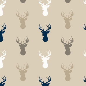 Deer - Navy, taupe, White on beige