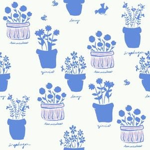 Happy Pots Sun Photo Print - French Blue