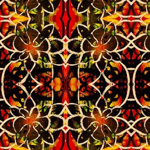 Red, green, black and yellow repeating flower pattern
