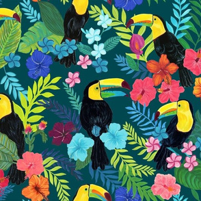 Tropical Toucans on Teal