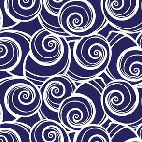 Blue and white spiral snail seashell pattern