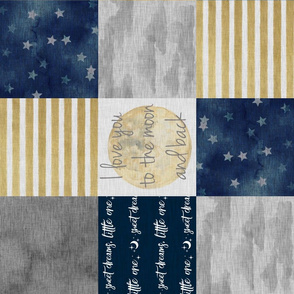 Love you to the moon and back - Navy and gold - ROTATED