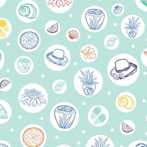 Pastel green tropical beach resort spa pattern
