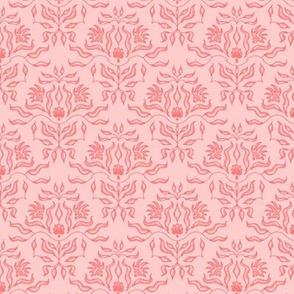 Seaweed Damask - coral/pink
