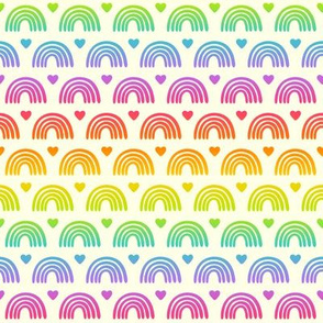 Bright Gradient Rainbows & Hearts on Cream
