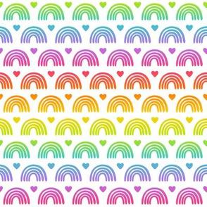 Bright Gradient Rainbows & Hearts on White