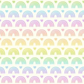 Pastel Gradient Rainbows & Hearts on Cream