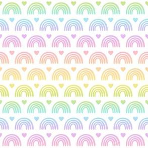 Pastel Gradient Rainbows & Hearts on White