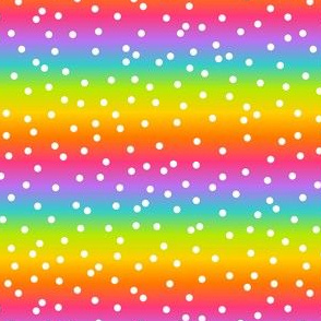 White Confetti on Horizontal Bright Rainbow Gradient