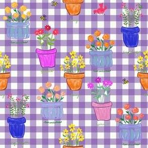 Happy Pots - Purple Gingham
