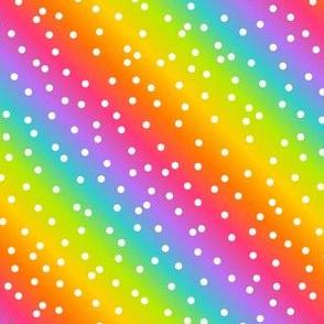 White Confetti on Diagonal Bright Rainbow Gradient