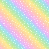 White Confetti on Diagonal Pastel Rainbow Gradient