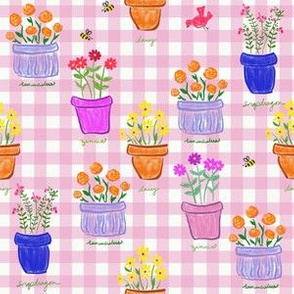 Happy Pots - Pink Gingham