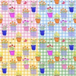 Happy Pots - Gingham Patchwork Quilt