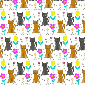 Cats Flowers Prints