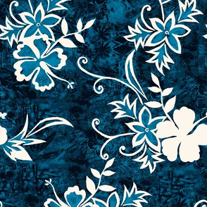 Hawaiian Hibiscus Shibori and Batik - Indigo