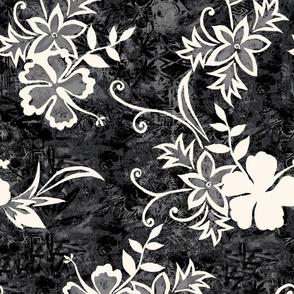 Hawaiian Hibiscus Shibori and Batik - Black