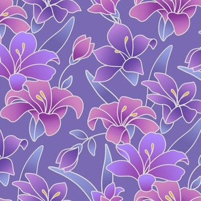 Silk painted lilies in pinks and purples