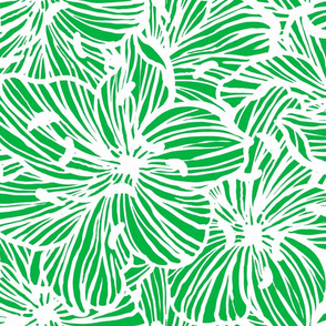 tropical floral line work in mint