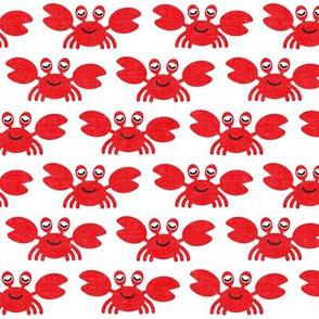 cute crabs - nautical summer - white - LAD19