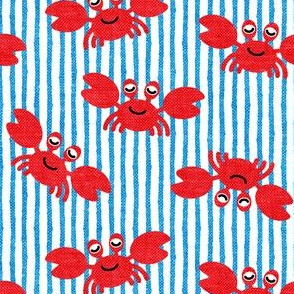 cute crabs - nautical summer - bright blue stripes - LAD19