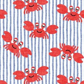 cute crabs - nautical summer - blue  stripes - LAD19