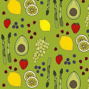 Fresh produce on green