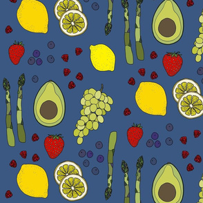 Fresh produce on mid blue