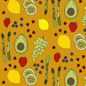 Fresh produce on mustard