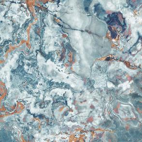 Marble Slate Blue Rust Orange