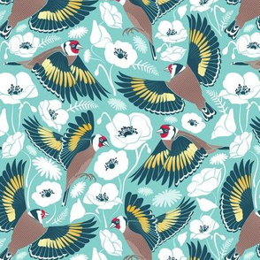 Goldfinches flying over white poppies //  small scale // aqua background navy and yellow birds
