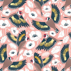 Goldfinches flying over white poppies // small scale // flesh background navy and yellow birds