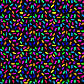 Rainbow Ticker Tape - black, half size