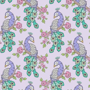Peacock Bird with Flowers Purple Lilac Smaller 4 inch