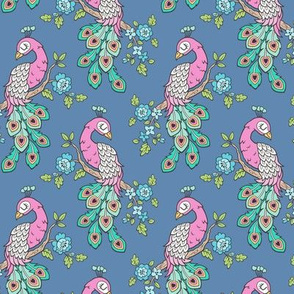 Peacock Bird with Flowers Pink on Dark Blue Navy Smaller 4 inch